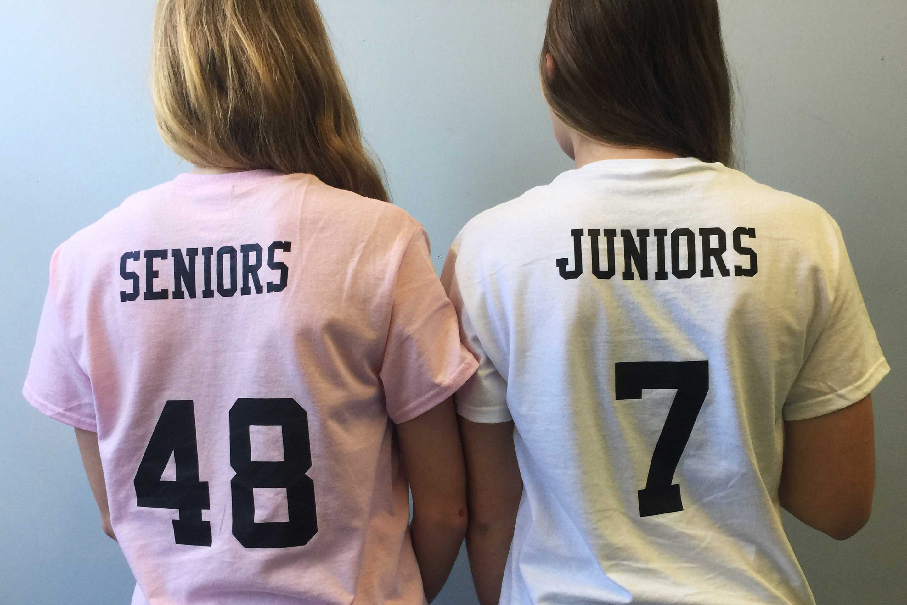 Juniors and seniors stand together as they prepare for the powderpuff game.