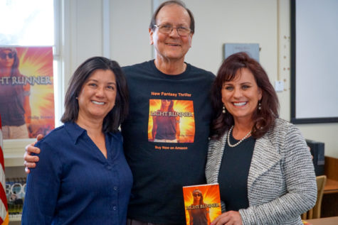 Author of Light Runner Mr. Philip Brown with teacher-librarian Miss Heidi Resnik and Principal Kim Stephenson.