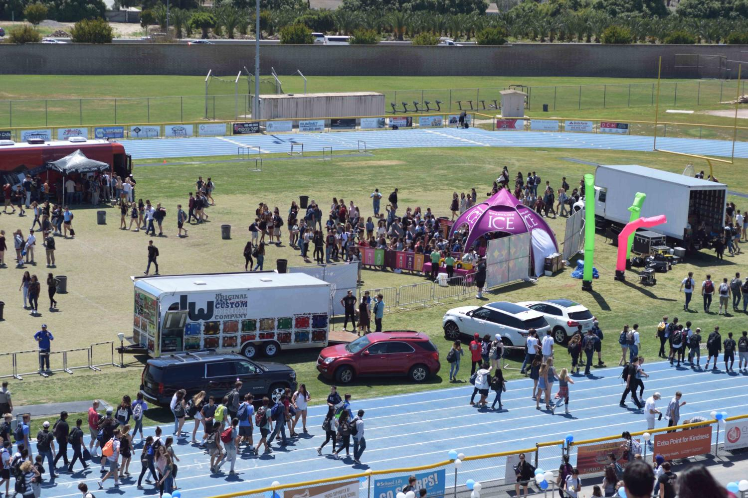 High School Nation set up trucks and tents on the football field for the event.
