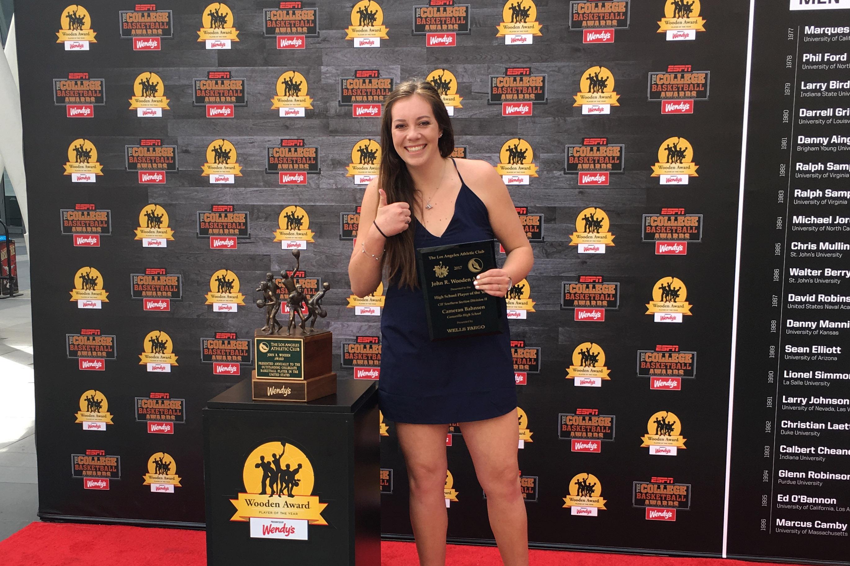 Cameran Bahnsen, senior, accepting her John R. Wooden Award.