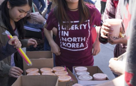 Liberty in North Korea club held a boba fundraiser in front of the school. Profit was donated to the organization.