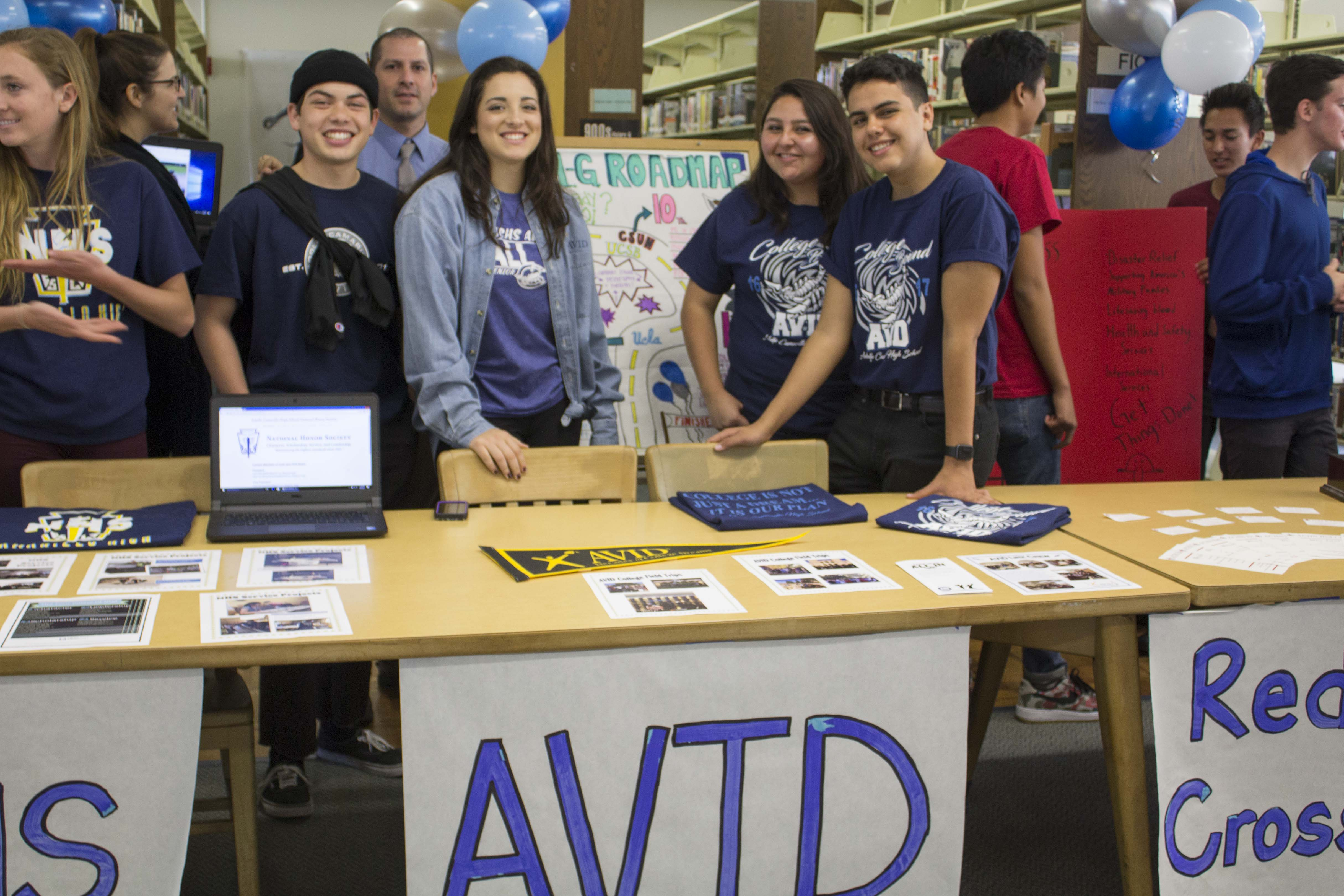 (left to right) Justin Cole, Mr. Richard Jaquez, Faith Chavez, Abby Urzua, and Pablo Martin (seniors) representing Advancement Via Individual Determination (Avid) striving for college readiness.