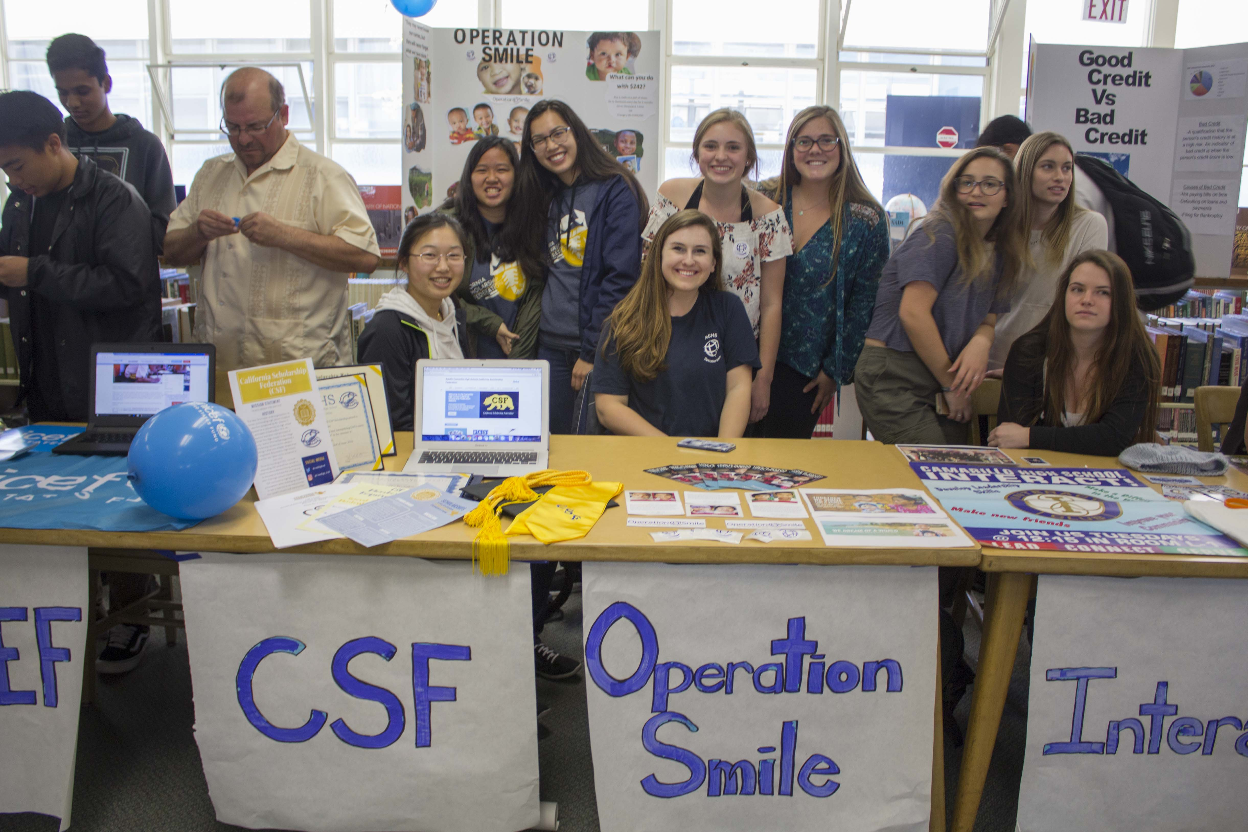 Michelle Liu, senior, Kaylie Chen, and Jaqueline Le, juniors, from California Scholarship Federation and juniors Mallorie Mehrali, Abby Michalak, and Tori Dearden from Operation Smile.