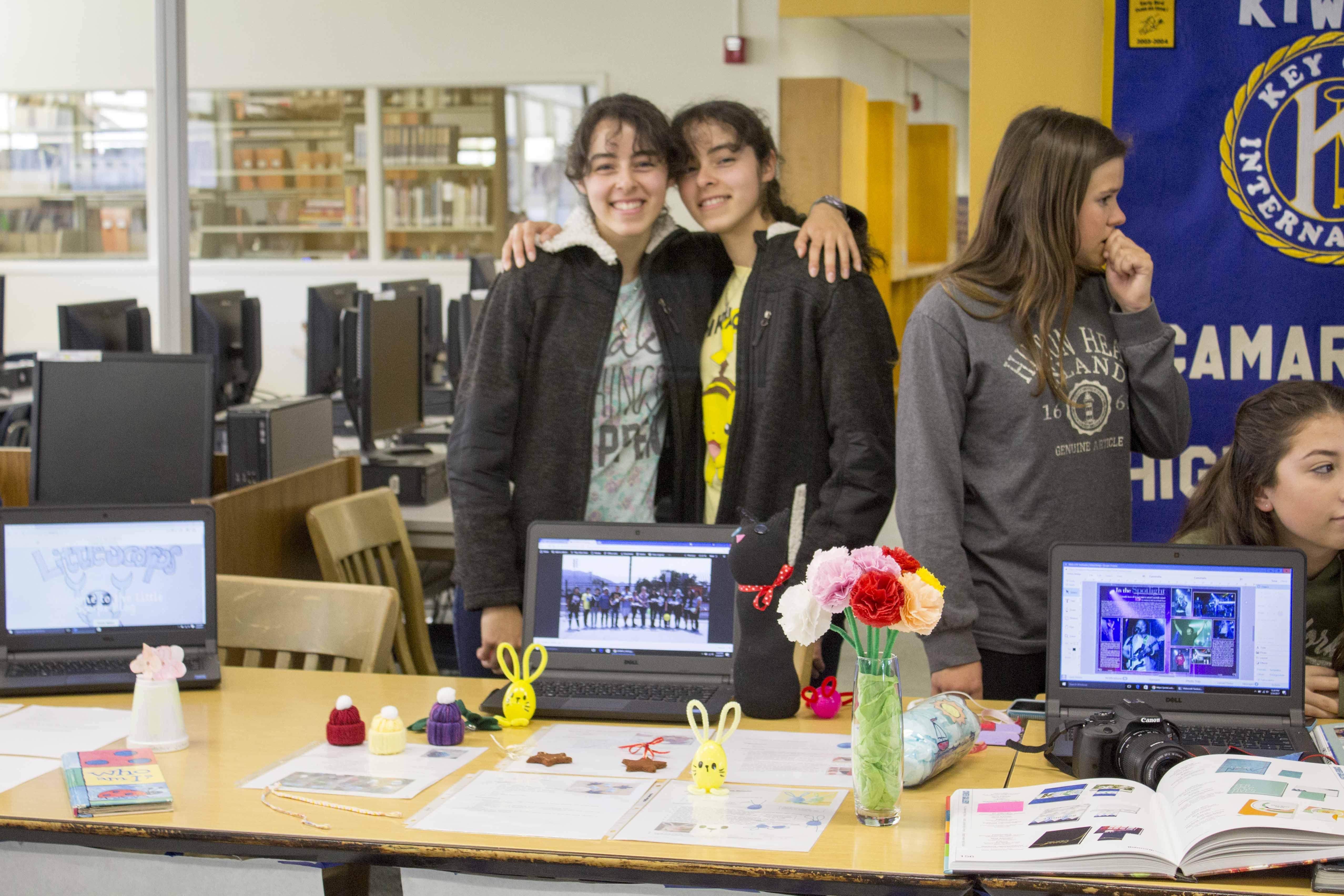 Seniors Ariana and Andrea Espinosa representing Craft Club.