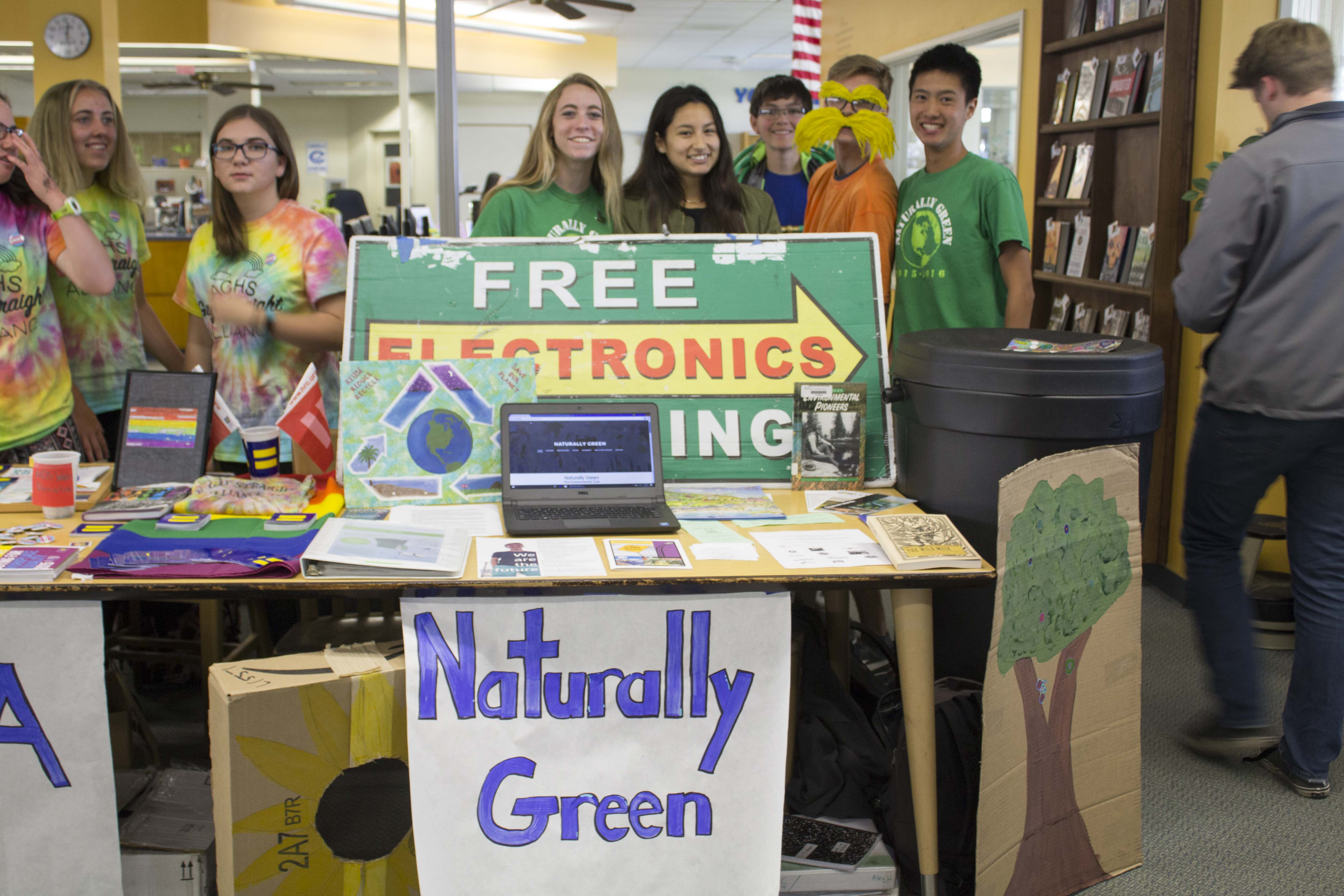 Maia Griffith, Lilly Figueroa, Xander, Caleb, and Alex Li from Naturally Green, an environmental club on campus.