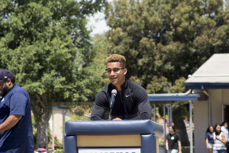 Jonah Cottrell, senior, saying a speech. He will attend UC Merced for basketball.