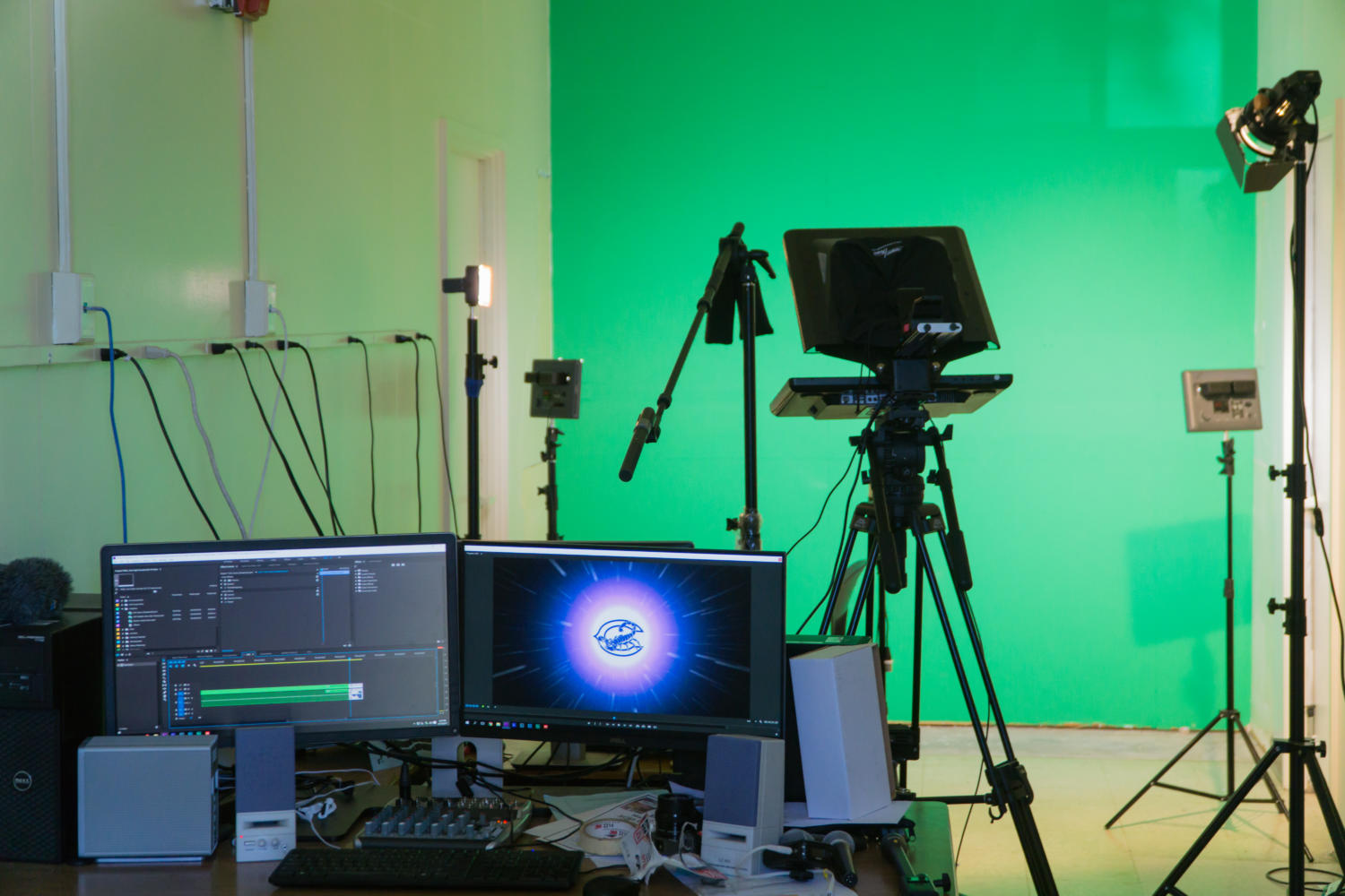 The video production class got a new room to use as a studio this year so they could conduct live streams.