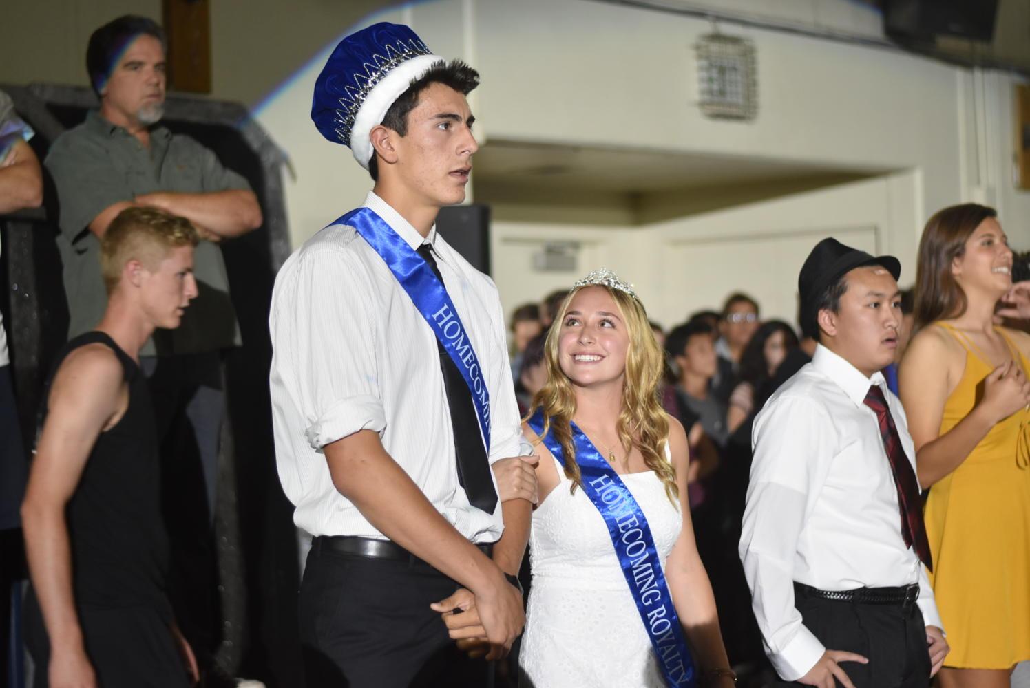 Ciera Muscarella, junior homecoming princess, looks up at Jamie Jaquez, junior homecoming prince.
