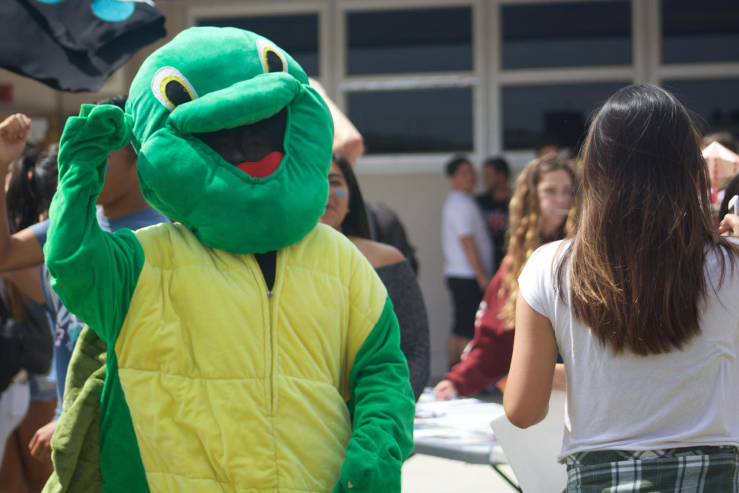 Senior Victoria Macaraeg dons a turtle suit in hopes of attracting more members for Cam High's KIWIN'S Key Club.