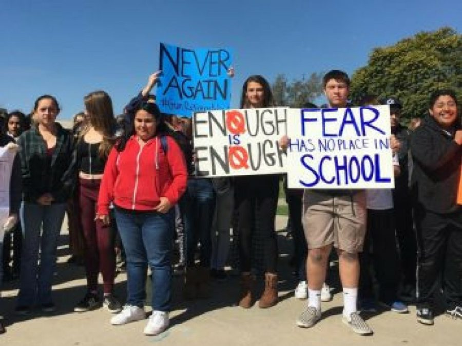 Photo by: Jack Young  A group of students walk out of class and gather at the stage to protest the recent gun violence.