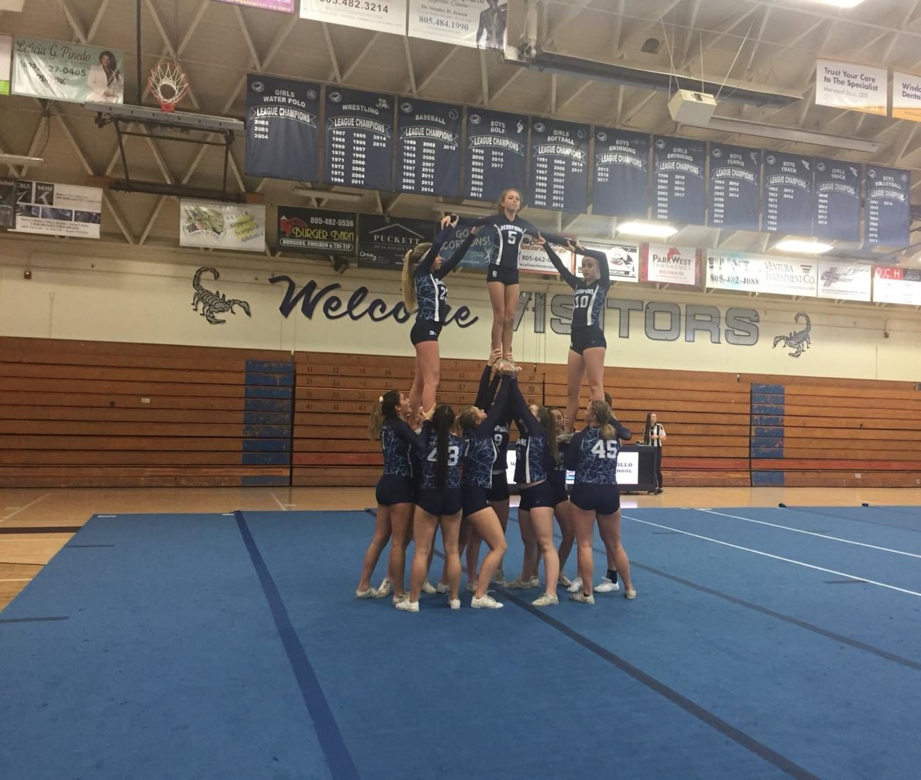 Provided by: Twitter  Cam High stunt team preforms at their first legue  game.