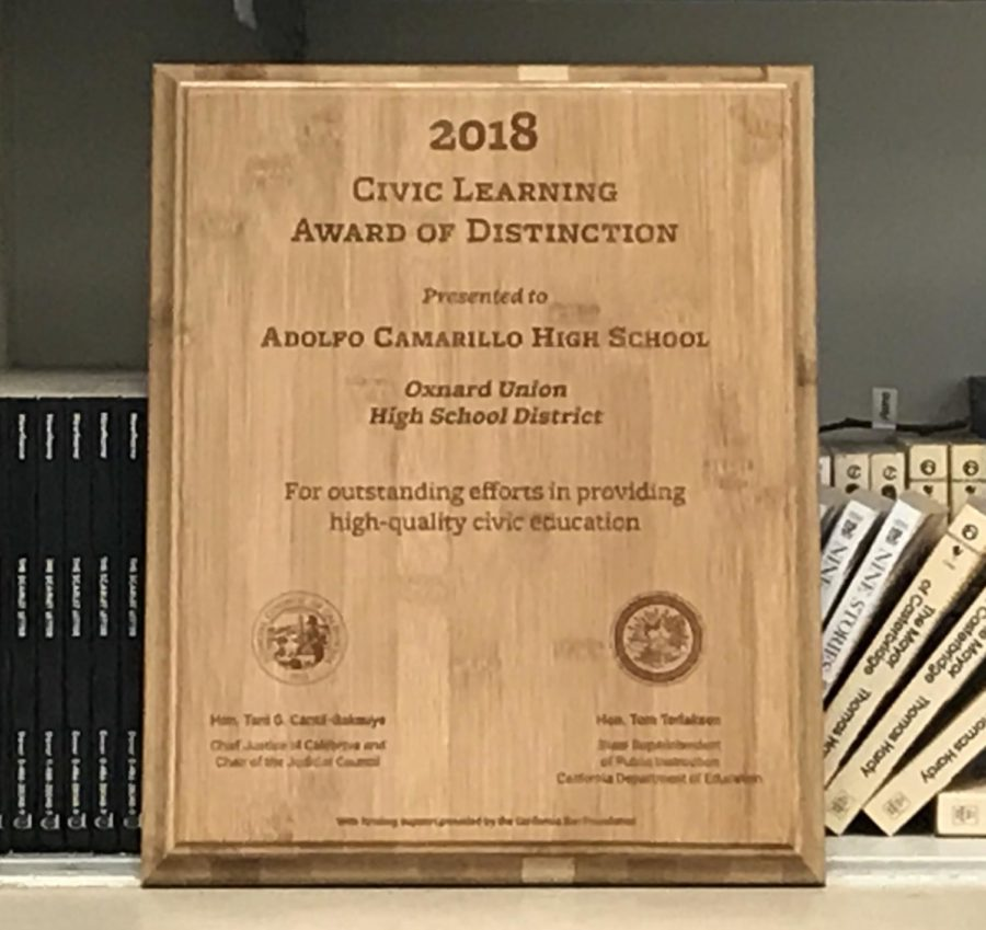 The Civic Learning Award of Distinction presented to Cam High. Photo by Jasmine Plascencia.