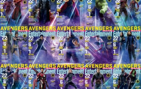 Provided by: ohmy.disney.com  The 15 covers of Entertainment Weekly, featuring the cast of the new marvel movie Infinity War, put together to create the Avengers logo in the background.