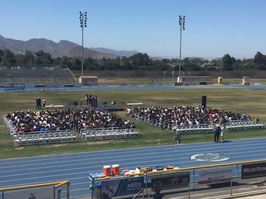 Class of 2018 practices for their graduation on June 15.   Photo taken by Shaeley Hicks