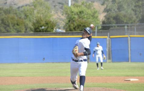 Photo by: Gabi Jose  Pitcher and senior Gabe Baldovino throwing a pitch against Sierra Canyon.