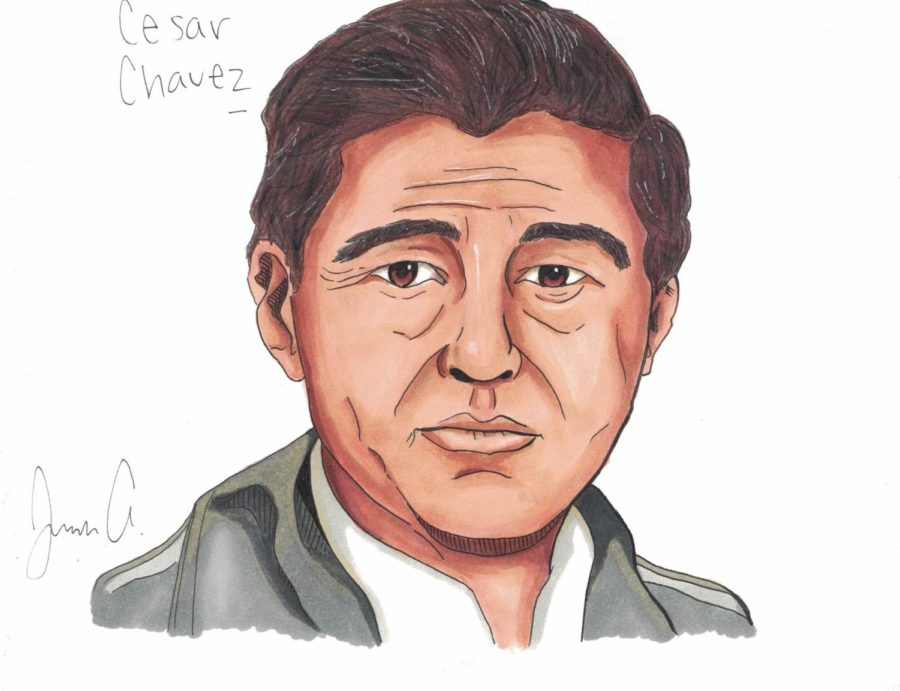 Artwork  by: Jonah Arellano. Portrait of Cesar Chavez, a Hispanic icon who fought  the injustice against Hispanic farm workers during the 1960's to the 1990's.
