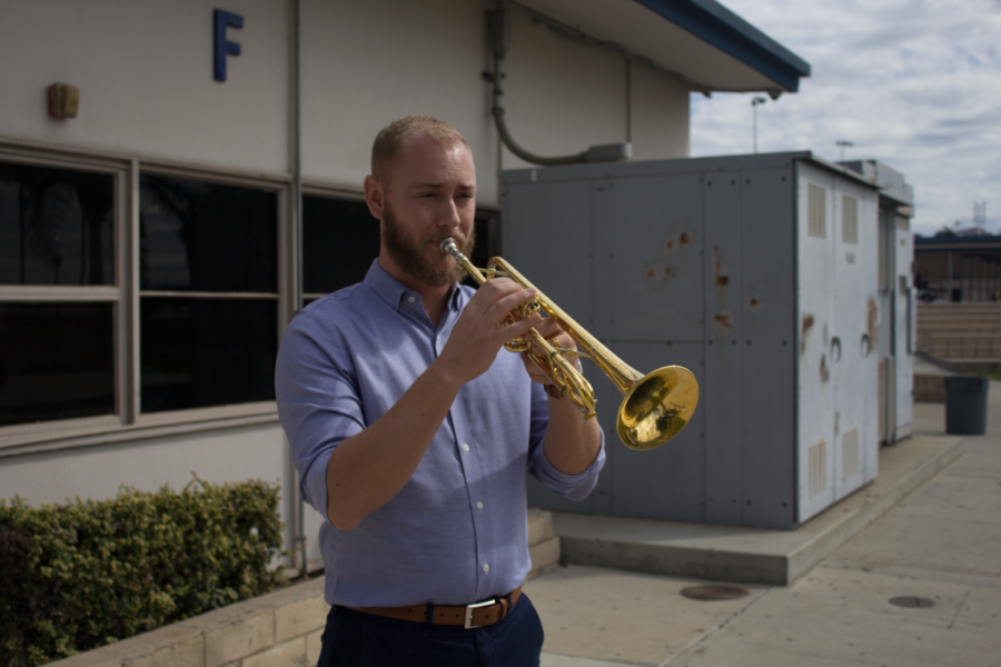 Mr. Guerrero playing the trumpet.  Photo by Ian Lattimer