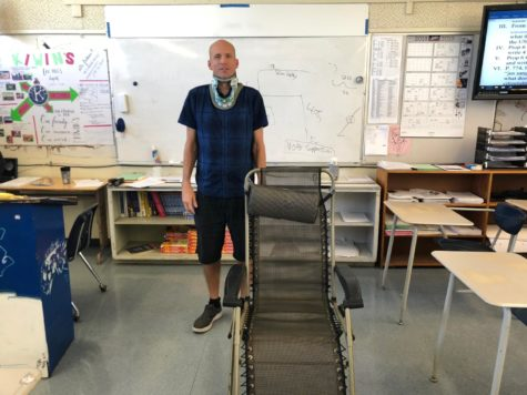 Mr. Quinn and his zero gravity chair in his classroom.