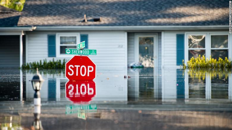 CONWAY, SC - SEPTEMBER 26: A home is inundated by floodwaters caused by Hurricane Florence near the Crabtree Swamp on September 26, 2018 in Conway, South Carolina. Nearly two weeks after making landfall in North Carolina, river flooding continues in northeastern South Carolina. (Photo by Sean Rayford/Getty Images)  Photo provided by CNN
