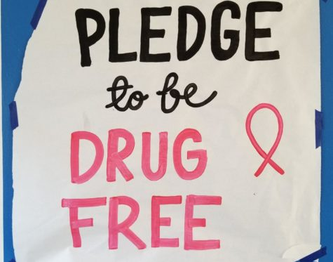 One of the posters hung around school that encourages students to be drug-free.   Photo by: Jonah Arellano