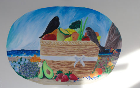 The Naturally Green mural located in the school cafeteria.