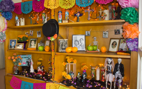 Cam High had a Dia de los Muertos altar in the library to celebrate the holiday.  Photo by: Ian Lattimer