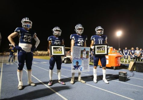 Cam High honored Cody Coffman, a 2015 graduate of Cam High, and victims of the Thousand Oaks mass shooting during the CIF Football game on Friday night.