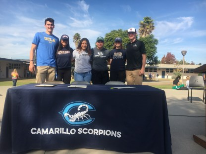 From left to right, Jaime Jaquez Junior, Bianca Gutierrez-Rodriguez, Elizabeth Bornhauser, Kylie Tuimaualuga, Camille Prendergast, and Peter Dufau on Nov. 15 at the Letter of Intent Signing event at lunch.