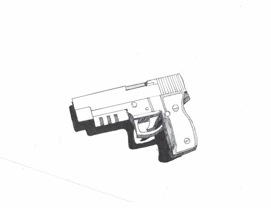 A picture of a gun illustrated by Cassie Tran, staff writer.