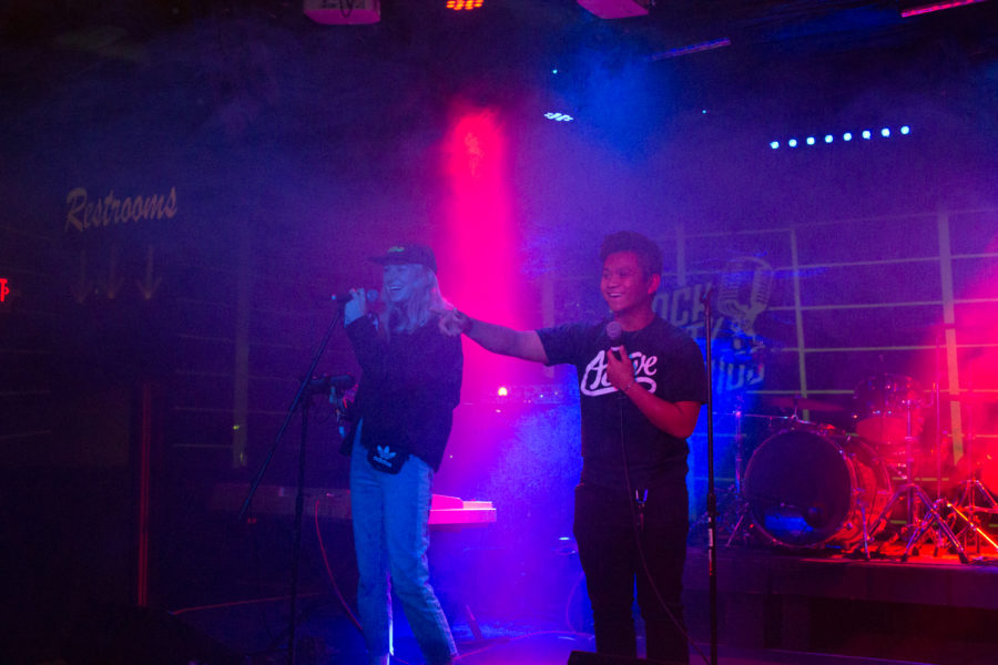 Olivia Gaiser (left) and Ethan Francisco (right) emceeing at Camchella on December 17, 2018.