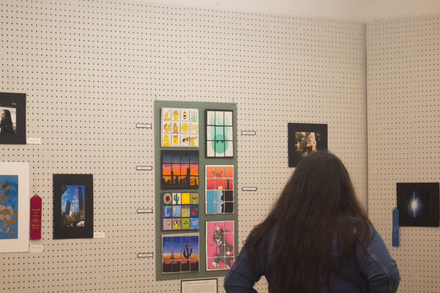 Cam High senior Christina Romero viewing artworks at the Camarillo Art Center on Jan. 19, 2019.