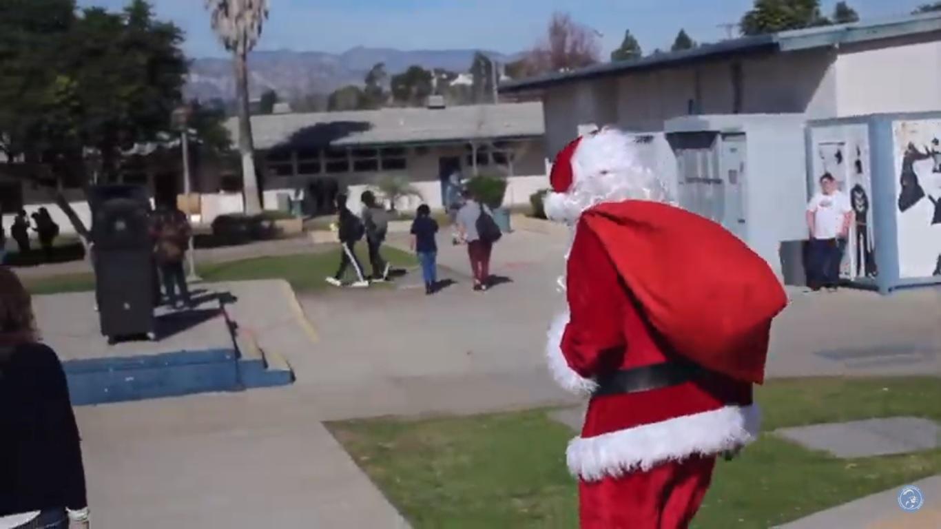 Santa Claus visits Cam High's quad.