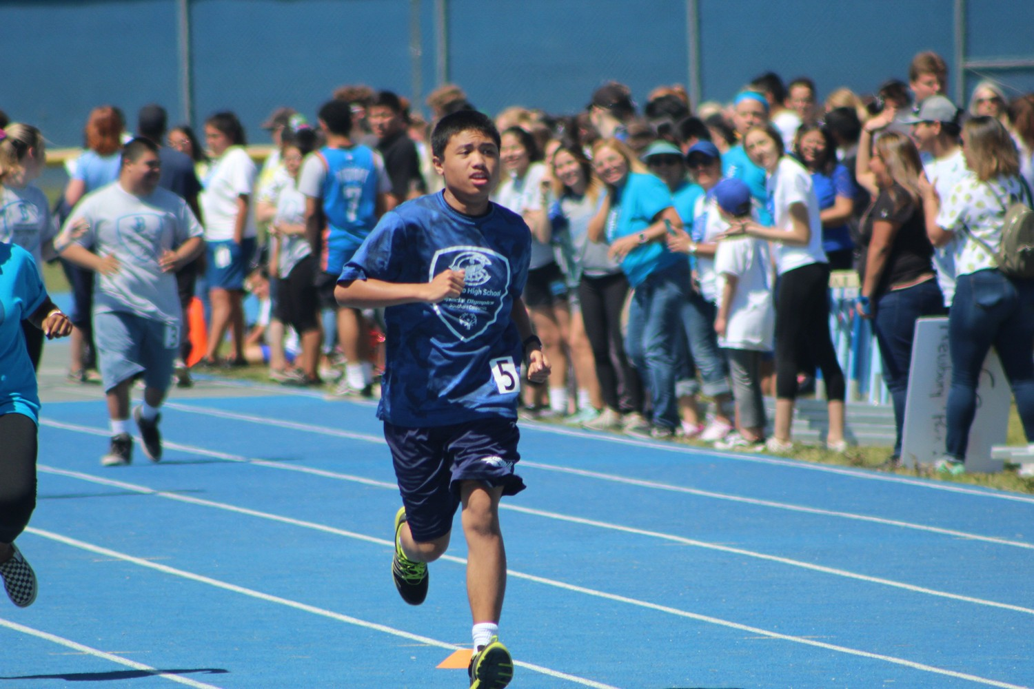James Labsilica runs the 100 meter event at the Special Olympics Track Meet, on Friday, April 19, 2019.