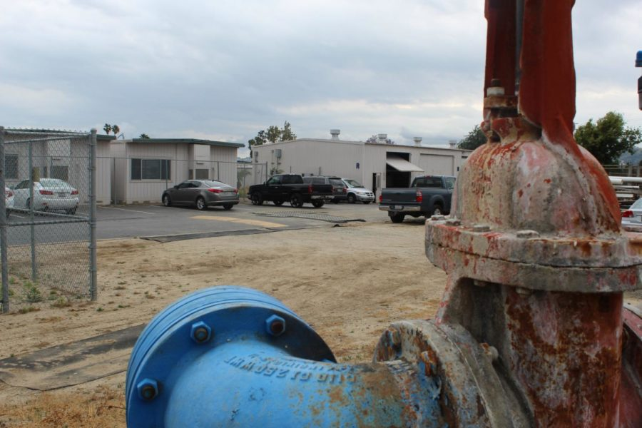 A view of the area affected by the water leak, from the main water pump at Camarillo High.