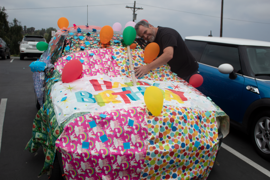 Mr. Tanner's birthday was on Tuesday, May 14, 2019. Teacher Holly Beckman-Regalado celebrated this by decorating his car with gift wrap and a
