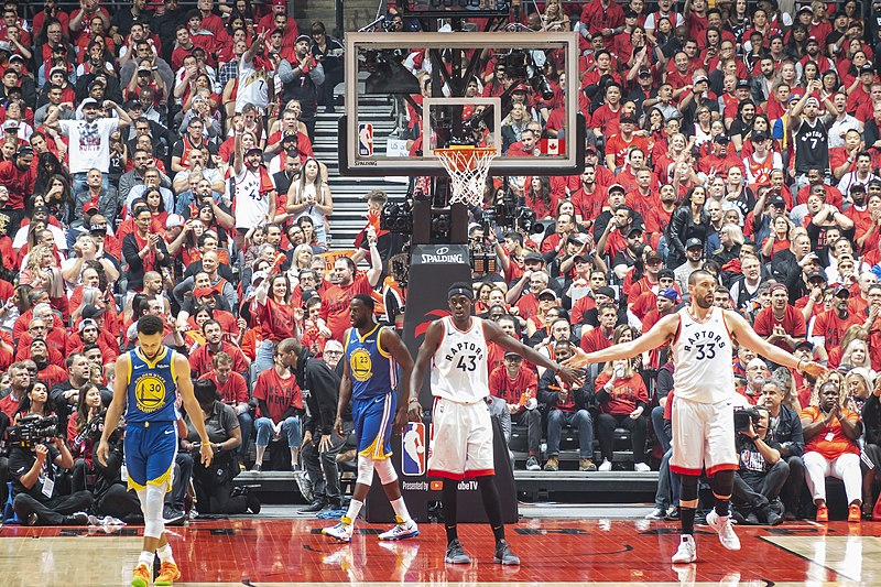 One of the NBA Final Games where the Raptors and Warriors faced off.