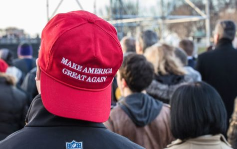 A supporter of Donald Trump wears a