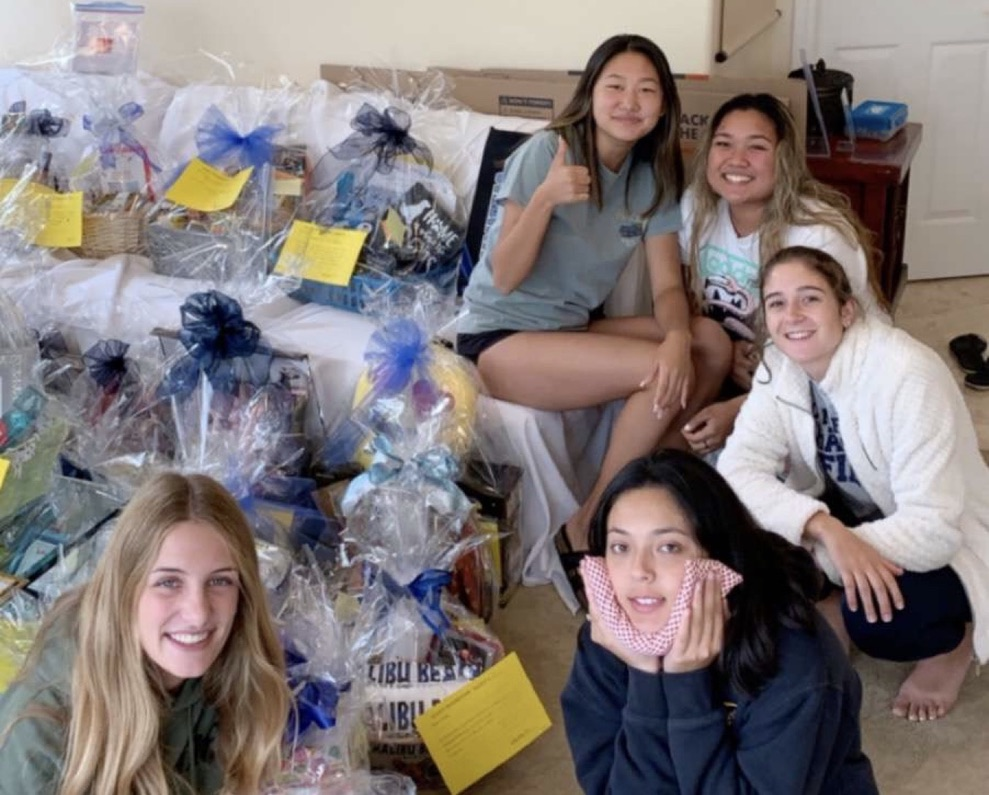 The senior class cabinet has been holding fundraisers to raise money for their senior activities such as prom, grad night, etc. Pictured (from left to right): Audrey Knight, Jenny Kim, Hannah Terrones, Anjel Lazaro, Krystal Jensen.