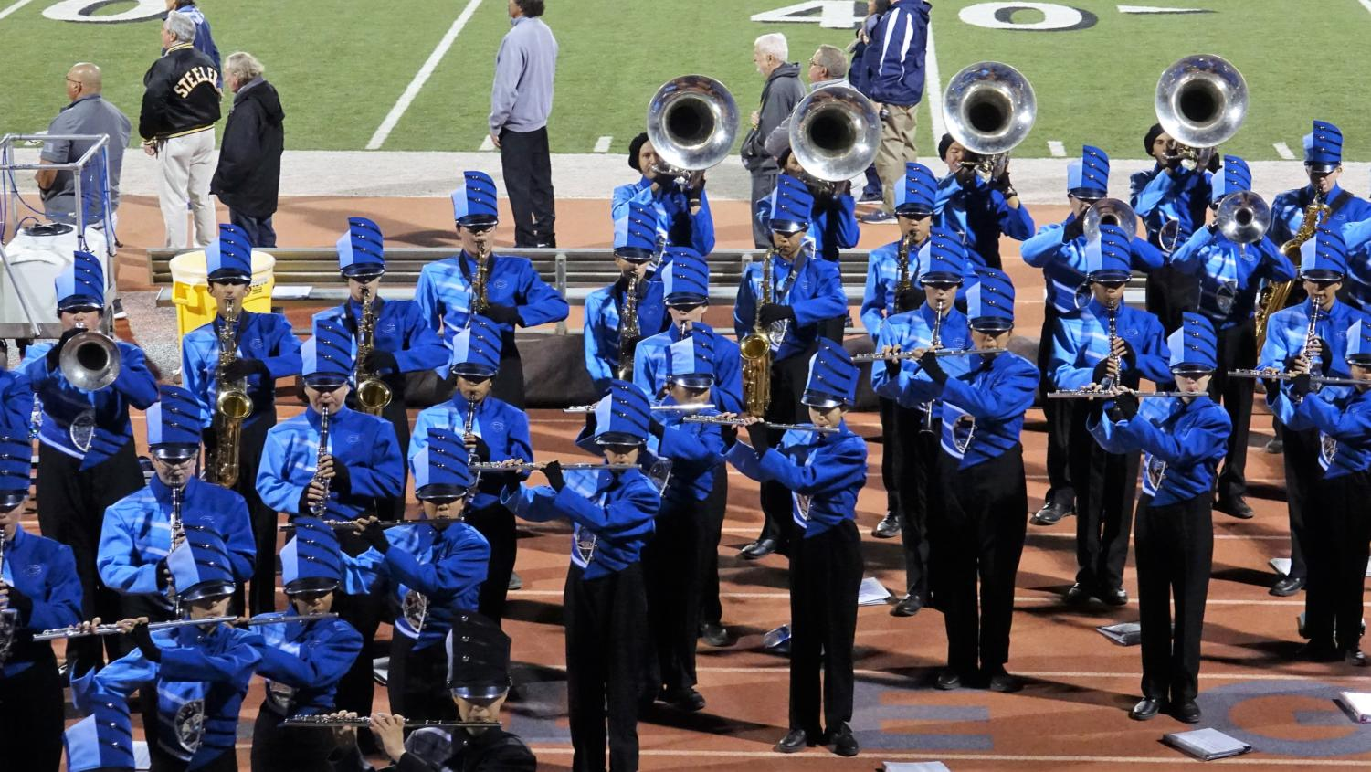 The ACHS Marching band performing at the Senior Night football game on Nov. 1, 2019.