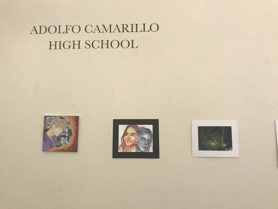 Chaos and Control, an art showcase held at Channel Islands University, featured Cam High artists, including Kaela Anderson, Gabby Larsen, Trinity Alvarado, Jenin Jomaa, Grace Cornejo, and Daniel Mendoza.