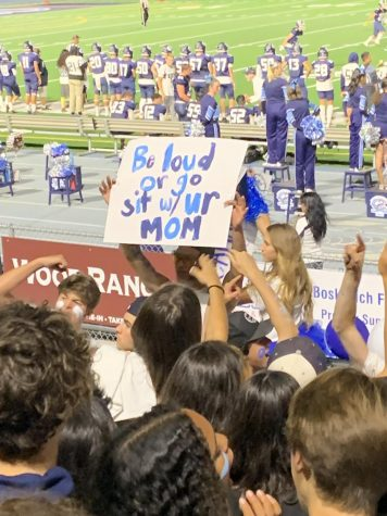 Cam High students show their support for their varsity football team in the Cyclone. Photo courtesy Cain Tolley