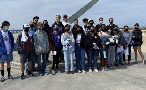 KIWINS Club members at a beach in Oxnard after participating in a beach cleanup there!